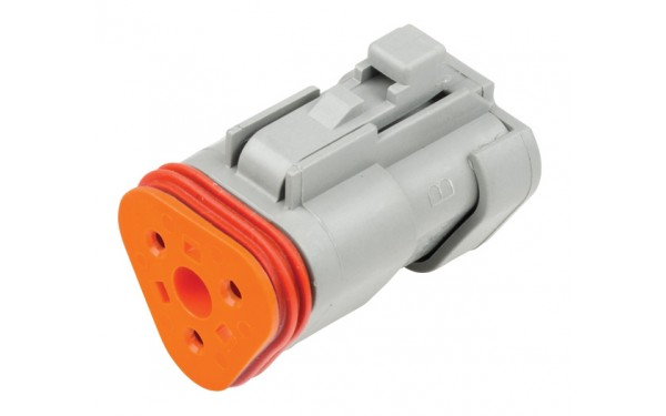 3 Circuit Deutsch DT Series Plug including orange wedge. Size 16 contacts