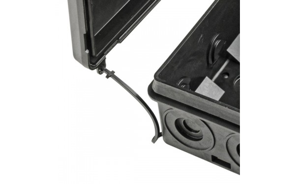 Lanyard prevents loss of enclosure cover